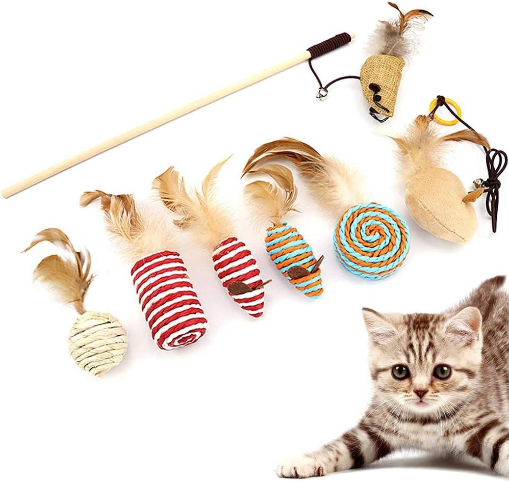 Juguete para Plumas de Gato, 7 Piezas Juguetes Interactivo Ratón, Natural de Plumas Gato Juguete, Juguete Gato Interactivo, para Juguetes Interactivos Mascotas con Gatos en Interiores y Exteriores