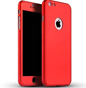 360 Degree All-round Protective Slim Fit Case Cover with Tempered Glass Screen Protector Skin for Apple iPhone 6/6S plus 5.5 Inch