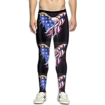 DOPYYDB Men's Compression Pants Baselayer Running Tights Flying American Flag Eagle 3D Print Fitness Sports Leggings
