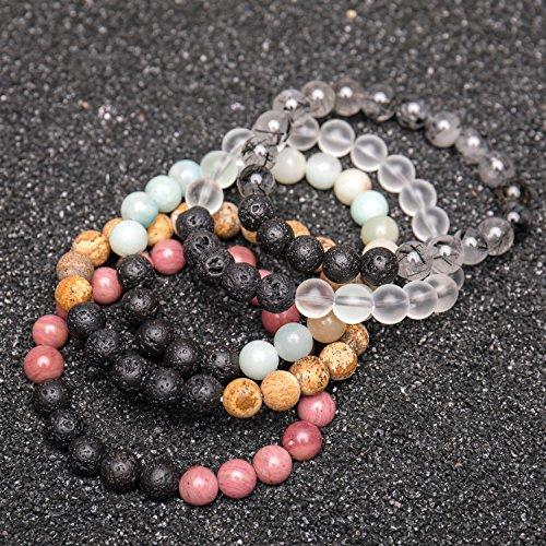 Bivei Lava Rock Stone Essential Oil Diffuser Bracelet - Natural Semi Precious Gemstone Beads Healing Crystal Bracelet(Set of 5) by Bivei (Image #2)