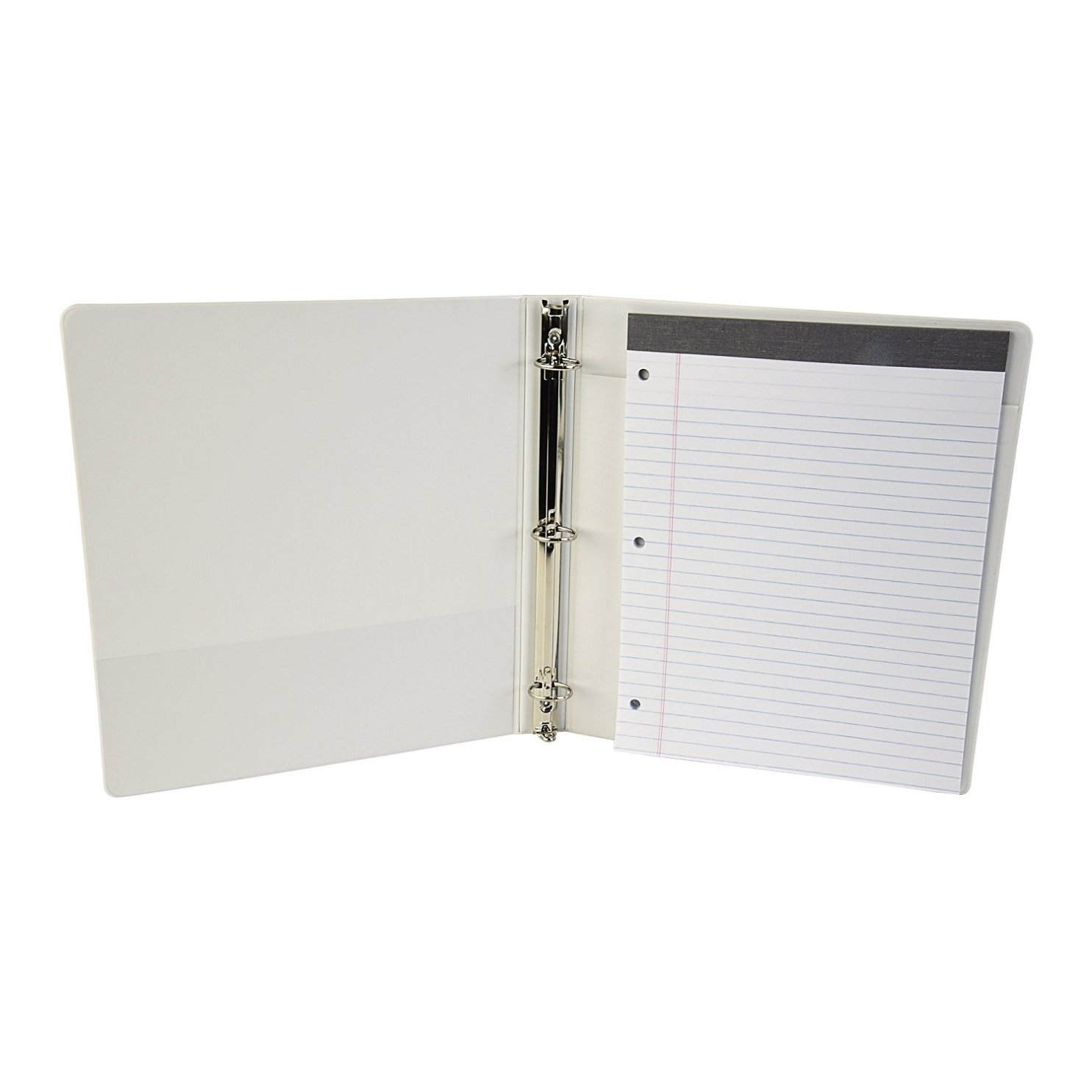 Samsill 2-in-1 3 Ring Binder & Padfolio, Customizable, Clear View, 1 Inch Round Rings, White