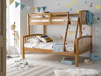 Happy Beds American Triple Sleeper Bunk Bed Pine Wooden Kids Bedroom Furniture Frame Only 3
