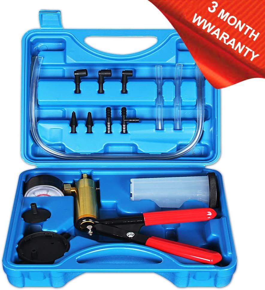 CARSC Hand Held Vacuum Pump Tester Kit with Adapter and Case is Suitable for Automotive Vacuum Gauge and Brake Exhaust Kit (Blue)