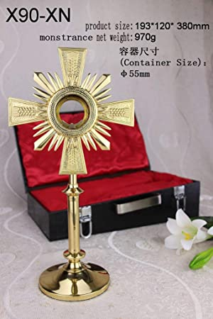 Brass Monstrance with Luna and Suitcase for Catholic Church Altar 14.96 H X90-XN. Our company have 15 kinds of monstrance with case for your choice