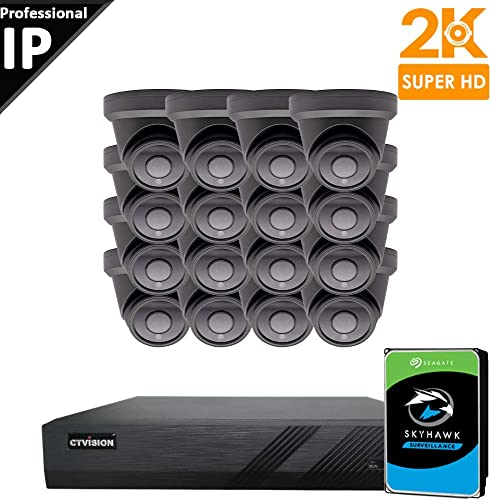 CTVISION UltraHD 5MP 2.5X1080P Home Business Security Camera Systems,16-Channel PoE Video Security System 4TB HDD ,16pcs Outdoor Weatherproof Nightvision 90 Viewing Angle Turret Dome PoE IP Camera