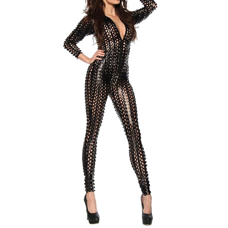 68eeaadfd25 Que Sera Quesera Women s Sexy Hollow Catsuit One Piece Metallic Skinny  Stretch Bodysuit