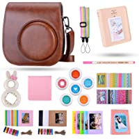 Famall 13 in 1 Instax Mini 9 Camera Accessories Bundles for FujiFilm Instax Mini 9 8 8+ Camera with Mini 9 Case/Album/Selfie Lens/Filters/Wall Hang Frames/Film Frames/Border Stickers/Pen(Brown)