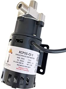 """CHUGGER PUMP XCPSS-CI-1 X-DRY with Run Dry Protection, SS 115 Volt Center Home Brewing System Beer Pump, 55"""" Cord w/Plug, 3/4"""