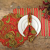 C F Home Gloria Red Paisley Floral Botanical Christmas Xmas Holiday Quilted Round Cotton Placemat Set Of 6 Round Placemat Set Of 6 Red Home Kitchen Amazon Com