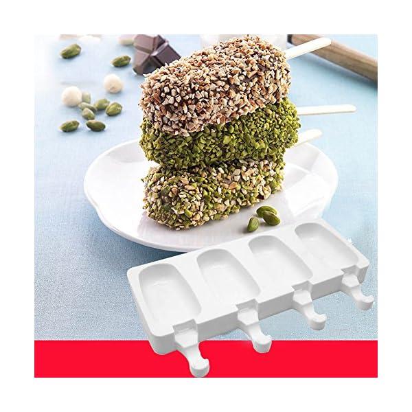 Crewell - Stampo per Gelato a 4 cavità, in Silicone, Antiaderente, per Dolci e Torte 4 spesavip