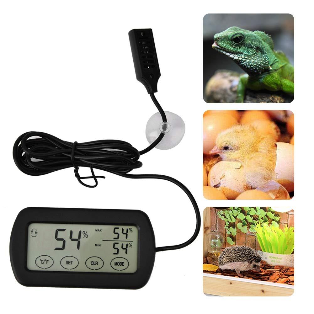 Sheens Term/ómetro Medidor de Monitor de higr/ómetro Tanque de Anfibios de Reptiles Term/ómetro Higr/ómetro con sondas remotas Incubadora de Huevos Temperatura m/áxima m/ínima Humedad Pantalla LCD Digital