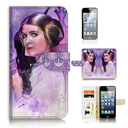 ( For iPhone 8 Plus / iPhone 7 Plus ) Flip Wallet Case Cover & Screen Protector Bundle - A21345 Starwars Princess Leia