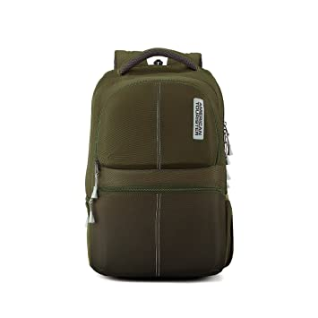 e878f7244721 American Tourister 30.5 Ltrs Olive Laptop Backpack (AMT Helix Laptop Bag 01  Olive)  Amazon.in  Bags