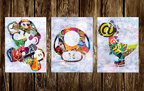 Mario Wall Art Set of three Prints (Availabe in sizes 8 x 10, 11 x 14, 16 x 20, 20 x 24) by Art Pop Tart
