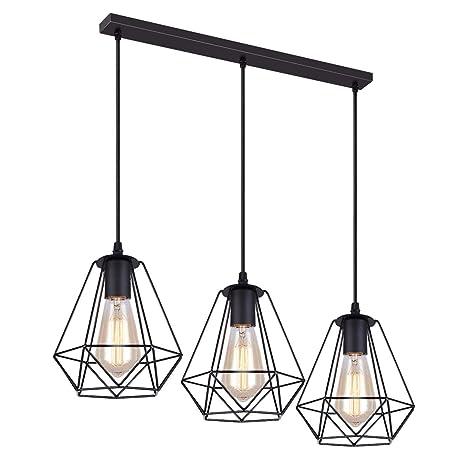 iDEGU - Lámpara colgante de metal con forma de jaula con soporte ...