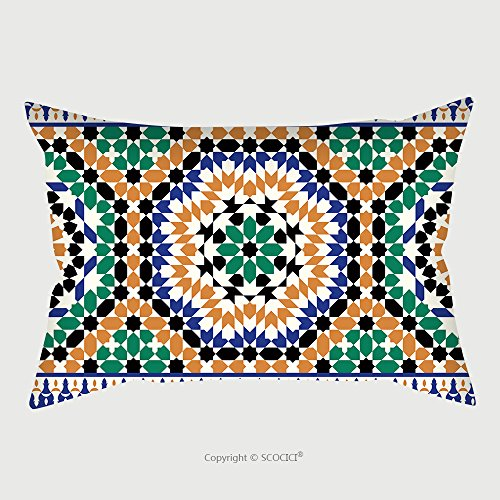 Custom Satin Pillowcase Protector Morocco Seamless Border Traditional Islamic Design Mosque Decoration Element 445472734 Pillow Case Covers Decorative by chaoran