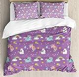 Our Wings Cartton Comforter Set,Unicorn Rainbows Diamonds Wand Pattern Bedding Duvet Cover Sets Boys Girls Bedroom,Zipper Closure,4 Piece,Multi Twin Size