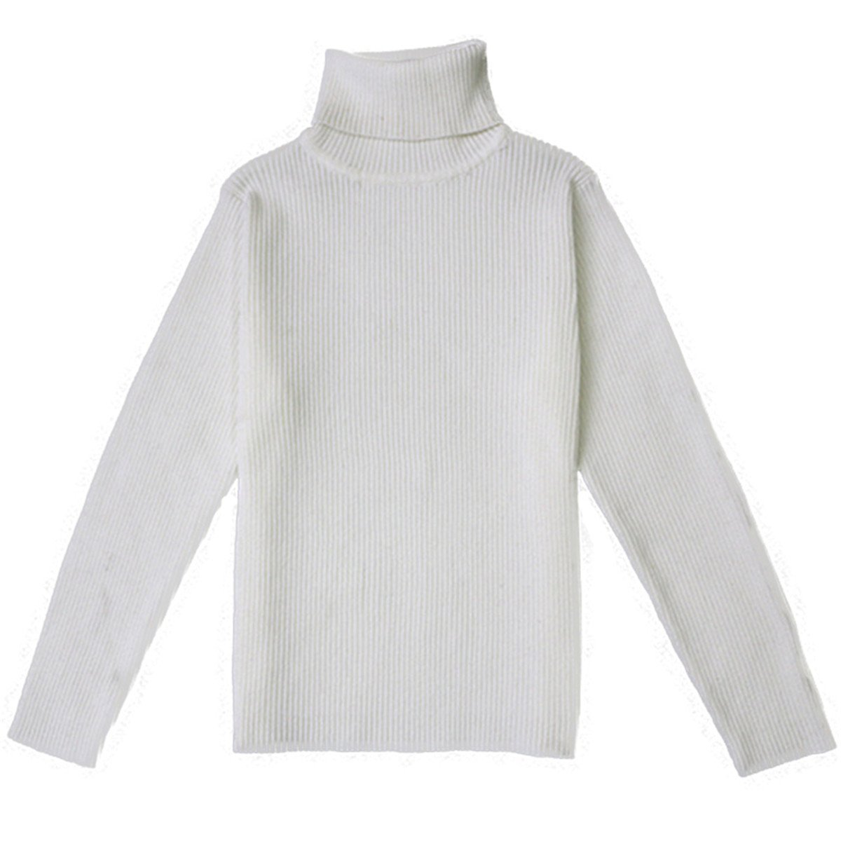 Little Baby Turtleneck Long Sleeve Sweater Basic Solid Fine Knit Warm Sweatshirt Pullover Base Tops (2-3 Years, White)