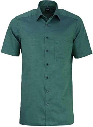 OLYMP Luxor Modern fit Camisa de media manga New Kent cuello estructura de color verde cazador