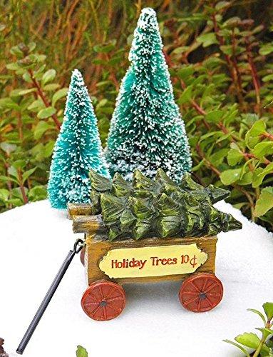 - My Fairy Gardens Miniature - Victorian Village CHRISTMAS Tree Wagon Cart - Mini Dollhouse Supply Expressions