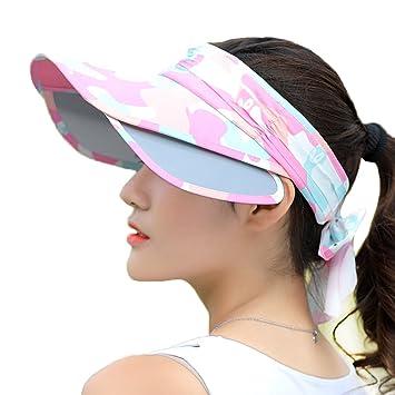 1086b0dd59481 ITODA Chapeau de Soleil Casquette Haut Vide Femme Homme Couleur Camouflage  Les Deux côté Protection Solaire