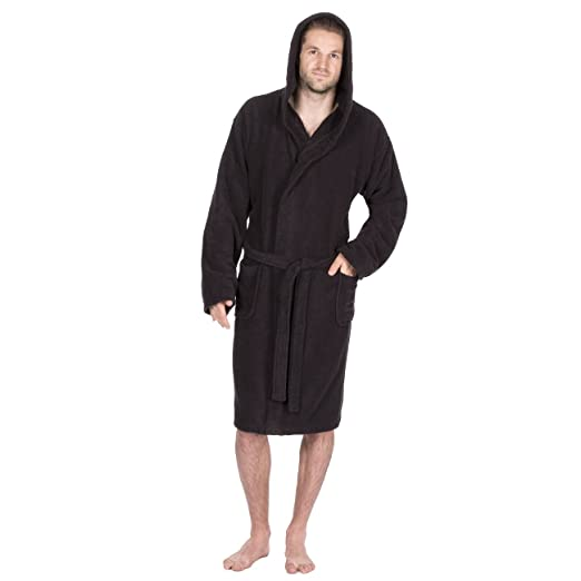 Pierre Roche Men s Towelling Bath Robe With Hood - Cotton Terry Cloth  Dressing Gown Black Medium b9d37f486