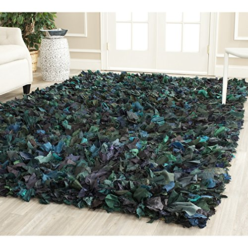 (Safavieh Rio Shag Collection SG951A Handmade Green and Multi Polyester Decorative Area Rug (6' x 9'))
