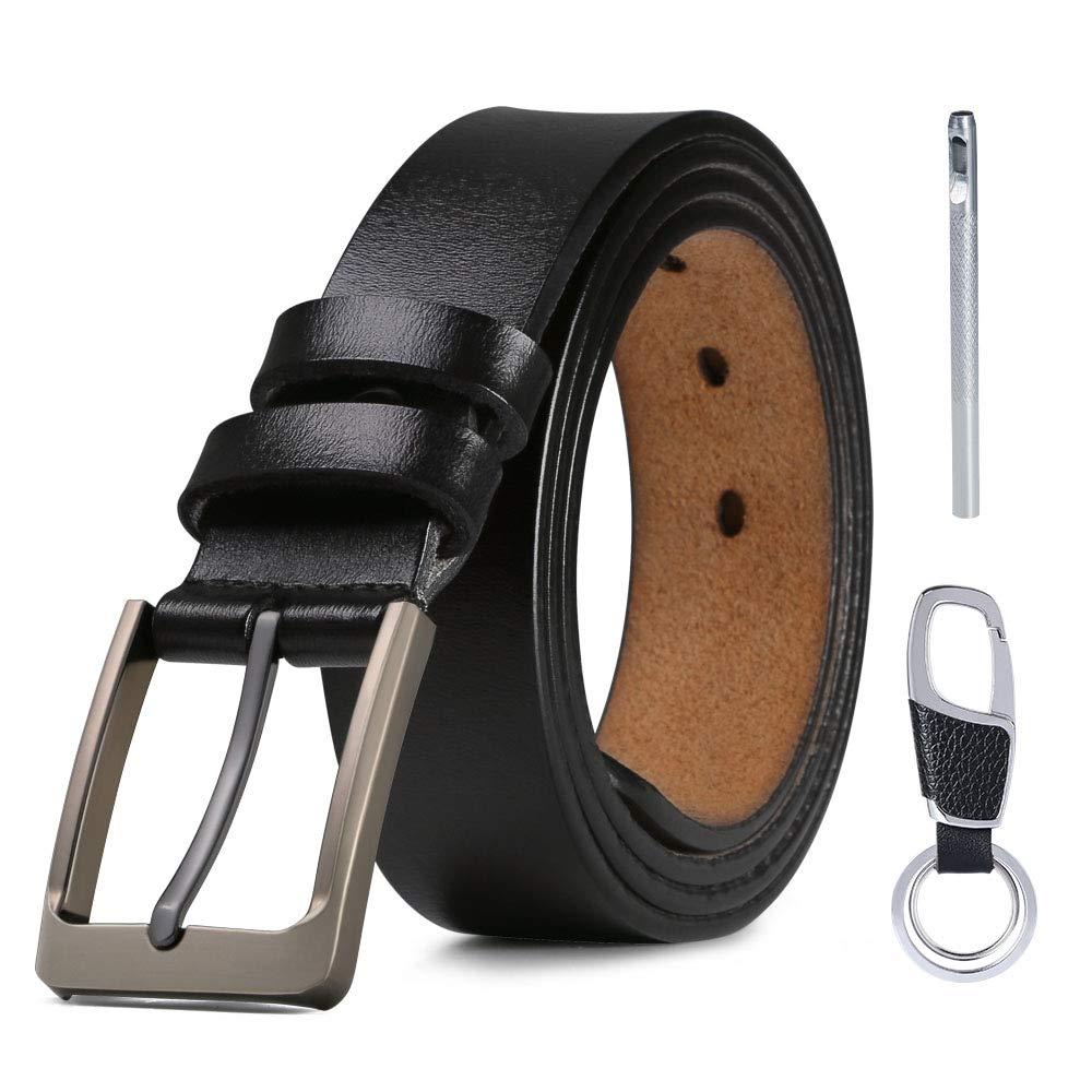 125cm Cintur/ón con Reversible Correa de Hebilla de Pin con Llavero y Caja de Regalo flintronic /® Cintur/ón Cuero Hombre