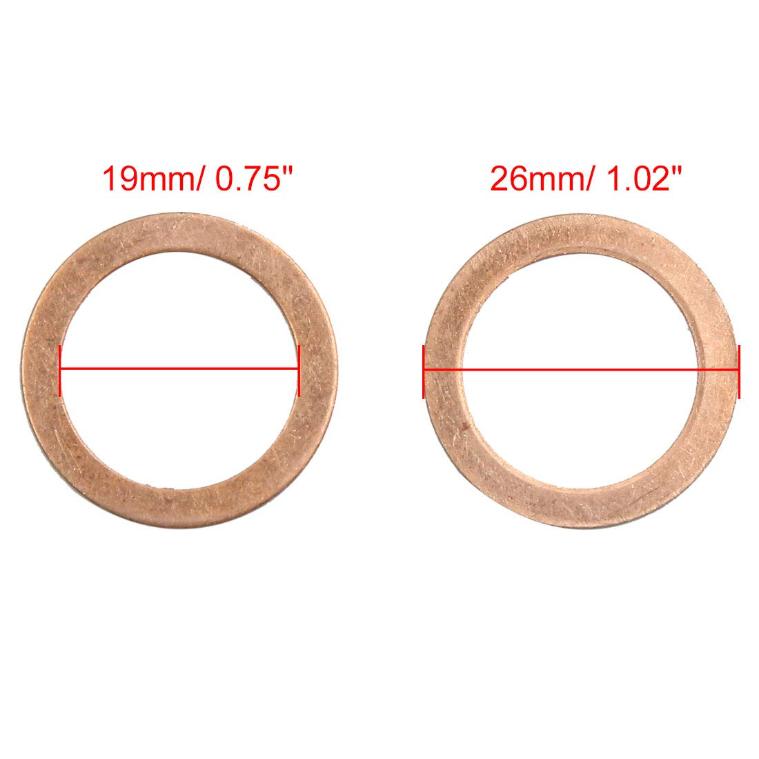 X AUTOHAUX 10pcs 19mm Inner Diameter Copper Washers Flat Sealing Gaskets Ring