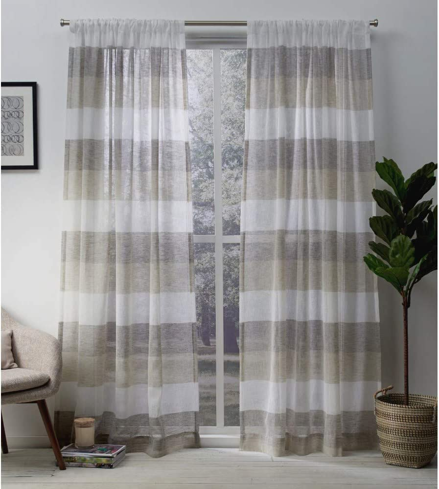 Exclusive Home Bern Stripe Sheer Rod Pocket Curtain Panel Pair Natural 54x96 2 Piece Amazon Ca Home Kitchen
