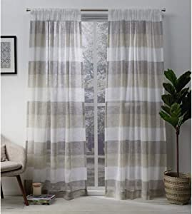 Exclusive Home Curtains Bern Striped Sheer Rod Pocket Panel Pair, 54x96, Natural, 2 Count