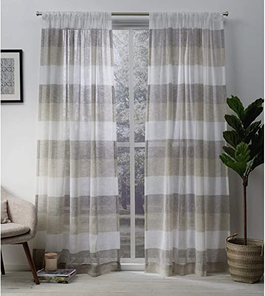 Amazon Com Exclusive Home Curtains Bern Striped Sheer Rod Pocket Panel Pair 54x84 Natural 2 Count Eh7952 02 2 84r Home Kitchen