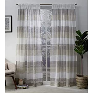 Exclusive Home Curtains Bern Striped Sheer Rod Pocket Panel Pair, 54x84, Natural, 2 Piece