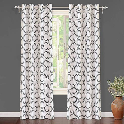 DriftAway Geo Trellis Room Darkening Thermal Insulated Grommet Unlined Window Curtain Drapes Pair for Living Room Bedroom Set of 2 Panels Each 52 Inch by 96 Inch Gray