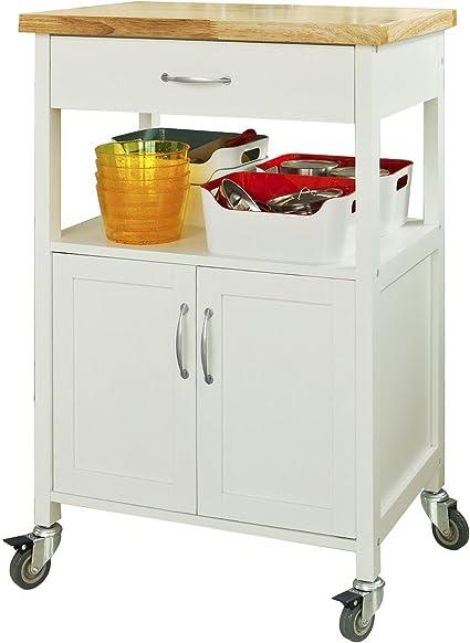 SoBuy® Carrito de servir, estantería de cocina, carrito de cocina móvil, FKW22-WN,ES