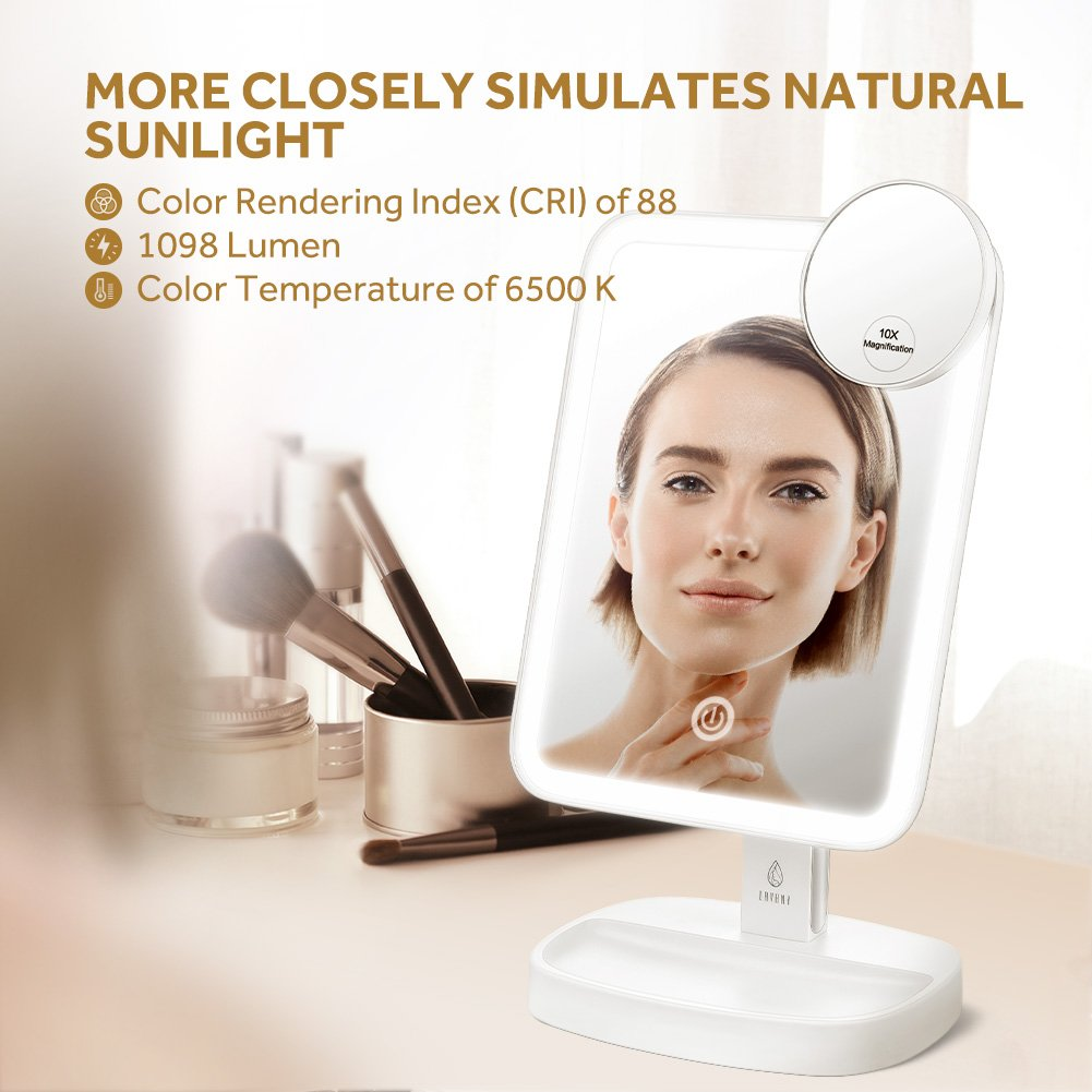Jerrybox Makeup Mirror with Lights, Lighted Vanity Mirror 180 Degree Rotation Portable Cosmetic Mirror with Stepless Dimming, Touch Screen and Dual Power Large