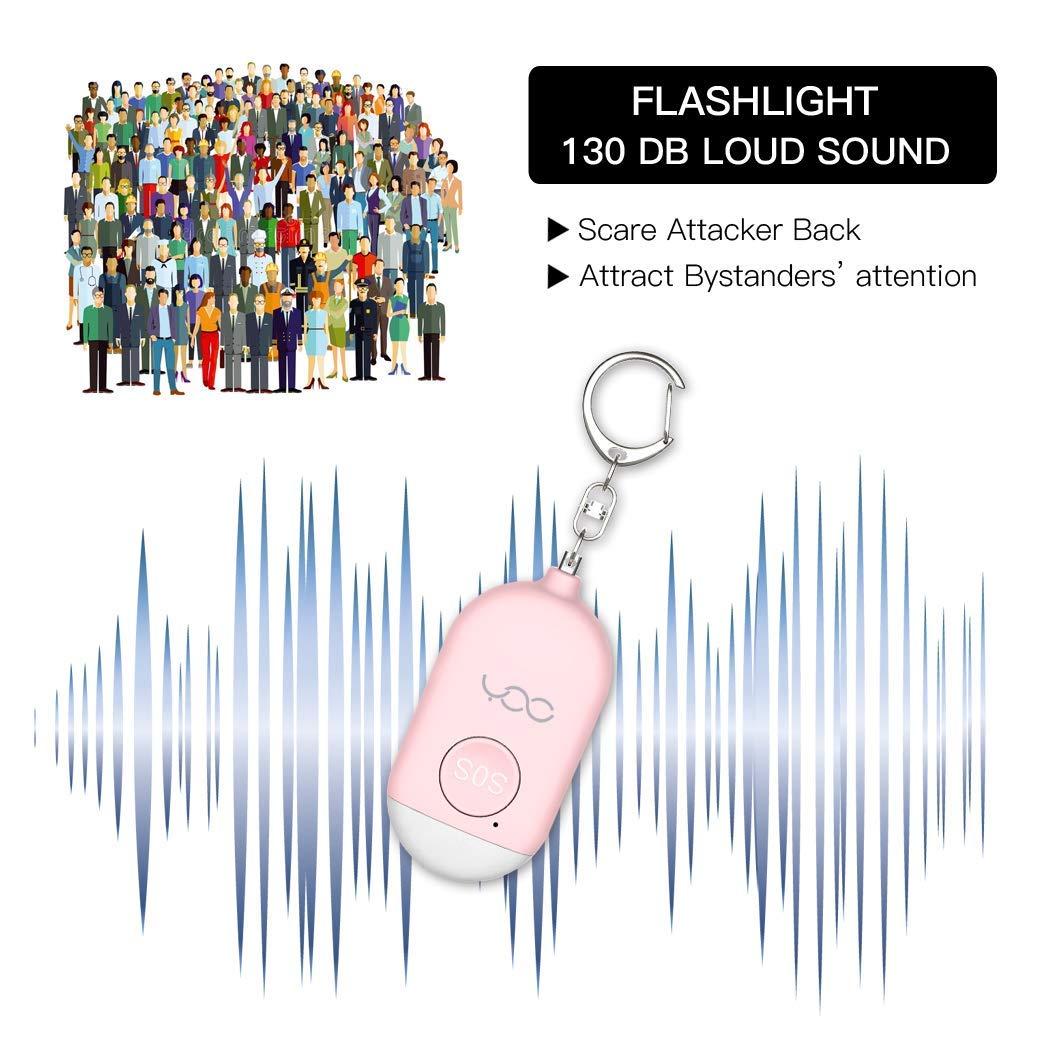 Auto Defensa Sonido Seguro para ni/ños y Ancianos 2 Pack 130 db USB Recargable Auto Defensa Alarma Llavero con Linterna LED de Emergencia Alarma Personal Blanco y Rosa