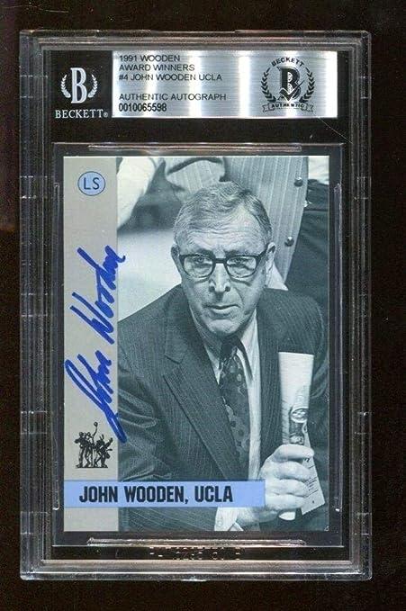 John Wooden Signed 1991 Award Winners Card 4 Autographed Ucla