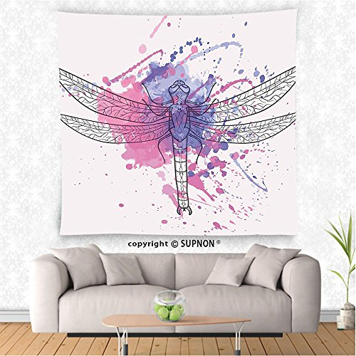 VROSELV custom tapestry Dragonfly Tapestry Grunge Street Art Watercolor Moth Bug in Pink Rainbow Tones Artwork Wall Hanging for Bedroom Living Room Dorm Black White and Purple (Dragonfly Tapestry Wall Hanging)