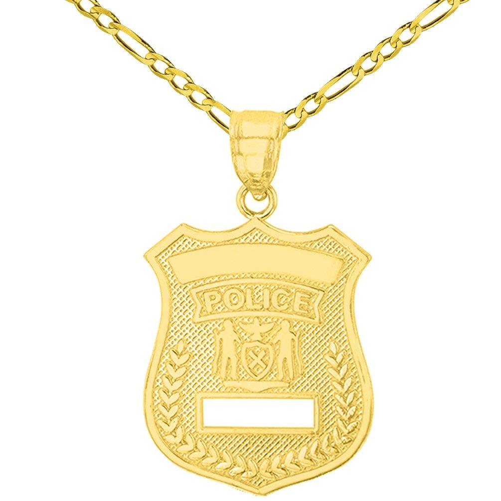ソリッド14 Kイエローゴールド警察官バッジチャームペンダントwithフィガロチェーンネックレス B07CYN5BZ7 16.0 インチ