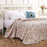 HOH Howtter Quilt with Gorgeous Garden Floral Bedspread Coverlet Blanket Soft and Hypoallergenic 80''X90''