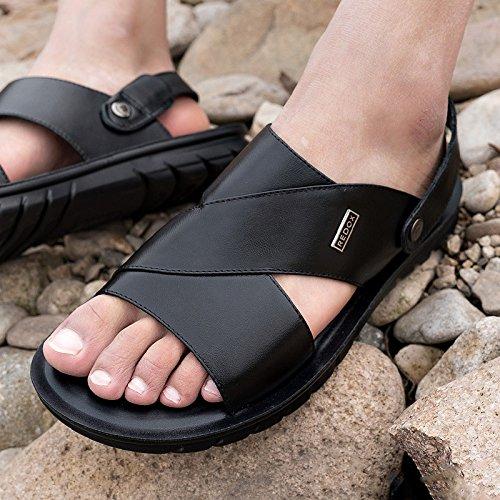 In E Pantofole Scarpe Aperte Black Pelle Con Uomo Da WKNBEU Casual Sandali Estivi Fq8dtwTTZx