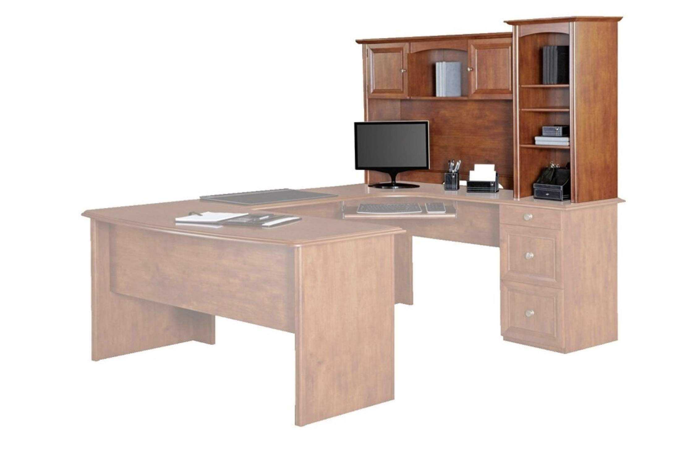 Realspace Broadstreet Hutch for U-Shaped Desk, Maple by Realspace