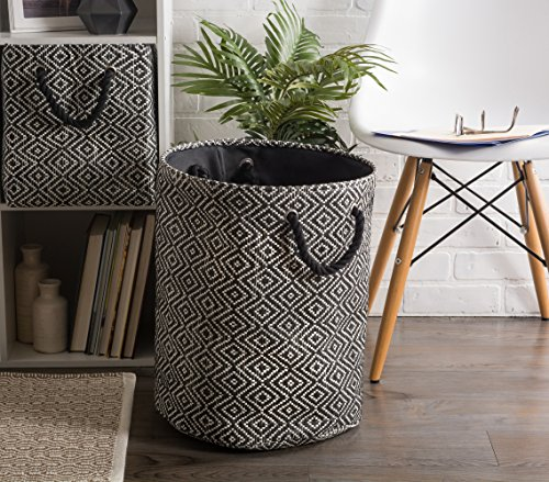 """DII Woven Paper Basket or Bin, Collapsible & Convenient Home Organization Solution for Bedroom, Bathroom, Dorm or Laundry(Medium Round - 14x17""""), Black & White Diamond Basketweave by DII (Image #5)"""