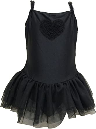 Big Girls Square Neck Camisole Dress with Ruffle Trim and Heart Accent