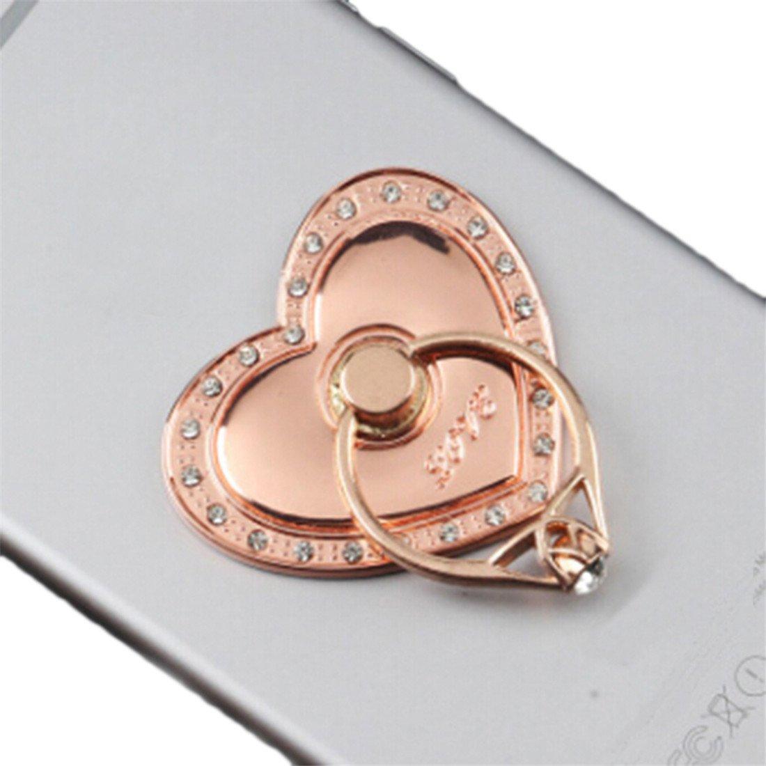 VWH Heart Shaped Phone Ring Bracket Holder Phone Holder (Rose gold)