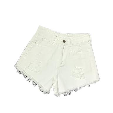 Elonglin Short en Denim Coton Femme Shorts Jeans Troué Taille Haute DéChiré  Pantalons Courts Denim Ete f6b60bfa96b