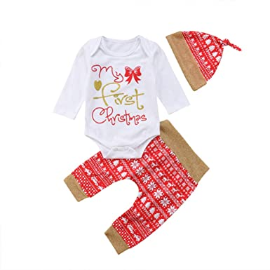 df564bcaa 3Pcs/Set My First Christmas Baby Girl Outfit Newborn Long Sleeve Bodysuit  Snowflake Pants Hats