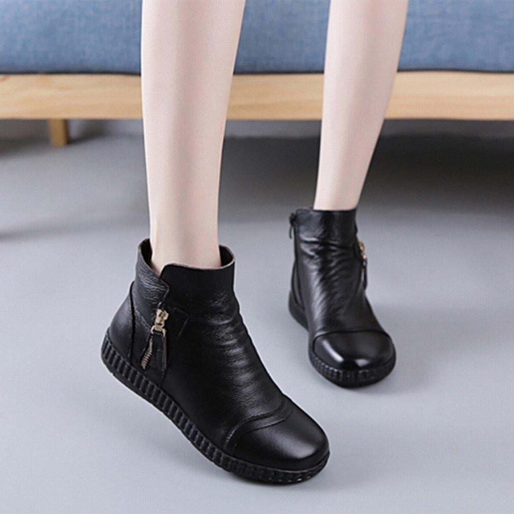 XAI Herbst und Winter Europäischen Europäischen Europäischen und Amerikanischen Frauen Schuhe mit Kurzen Stiefeln Runden Kopf Wasserdichte Stiefel  Schwarz cdd1ed