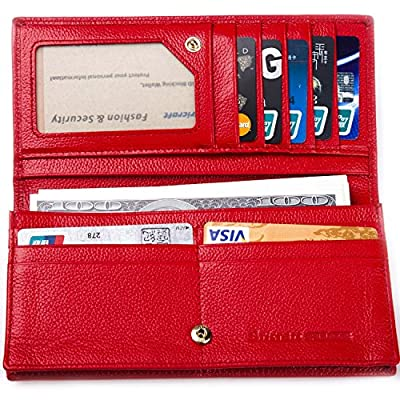 RFID Blocking Wallet, Women RFID Blocking Genuine Leather Bifold Change Wallet Clutch
